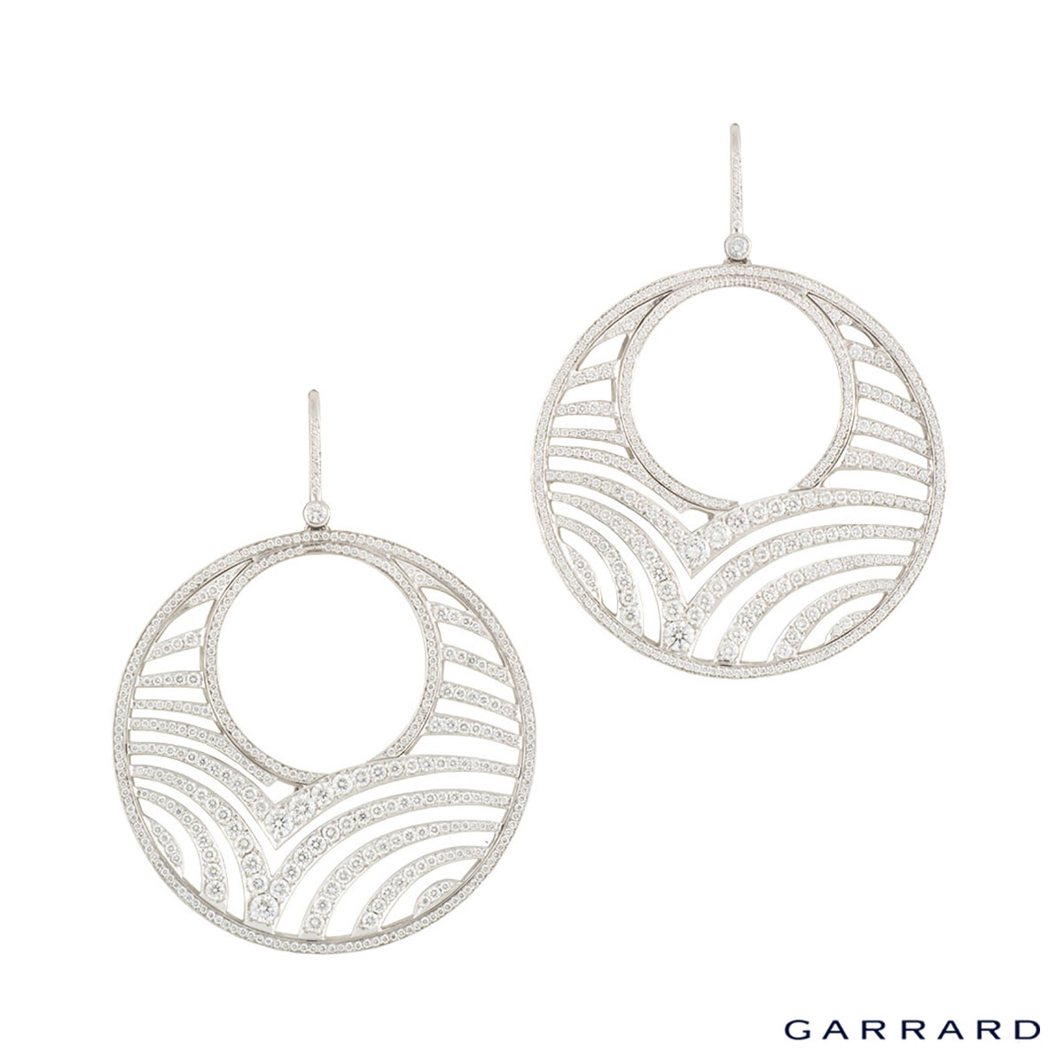 Garrard White Gold Diamond Hoop Earrings